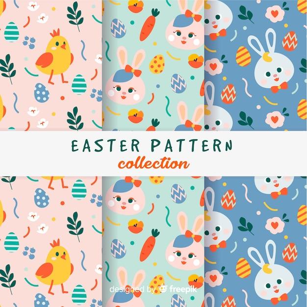 Coleção de padrão de dia colorido de páscoa Vetor grátis