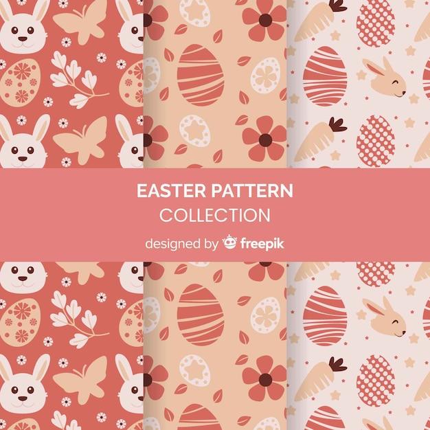 Coleção de padrão de dia de páscoa Vetor grátis