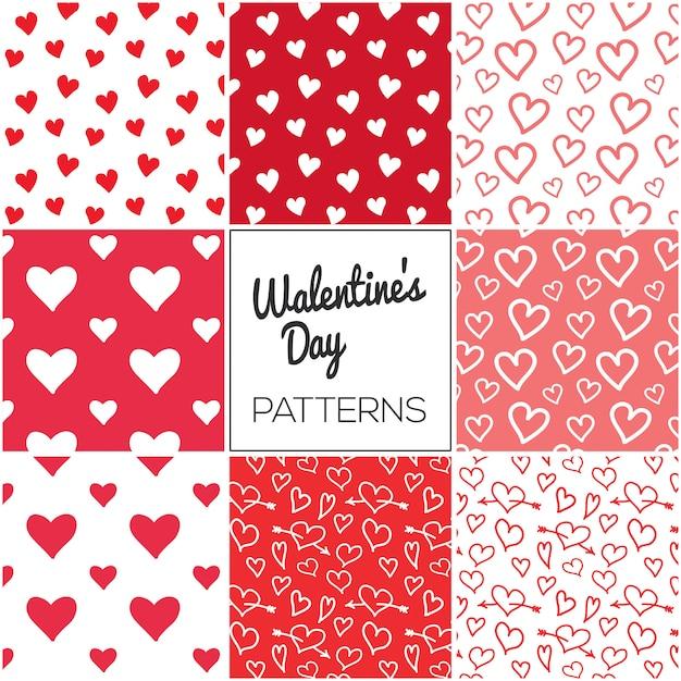 Coleção de padrão de dia dos namorados de corações Vetor Premium