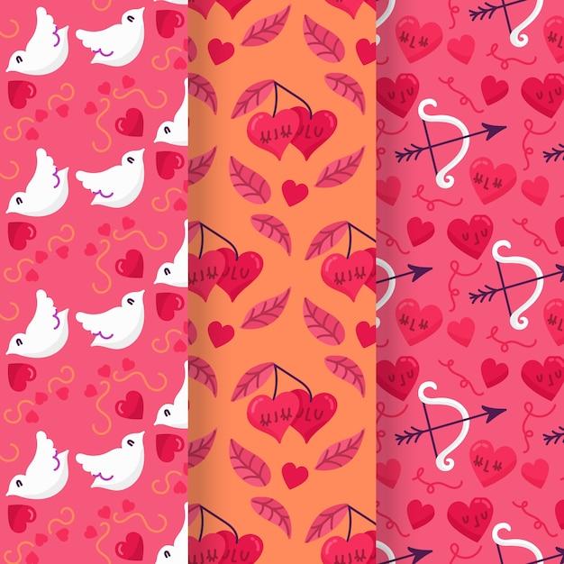 Coleção de padrão de dia dos namorados desenhados à mão Vetor grátis