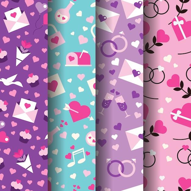Coleção de padrão de dia dos namorados em design plano Vetor grátis