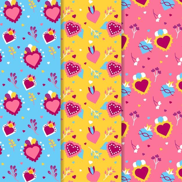 Coleção de padrão de dia dos namorados plana Vetor grátis