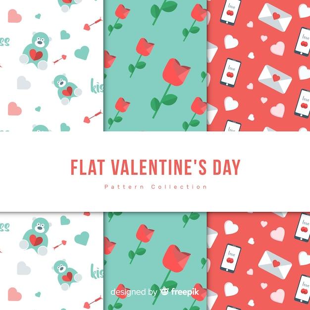 Coleção de padrão de dia dos namorados Vetor grátis