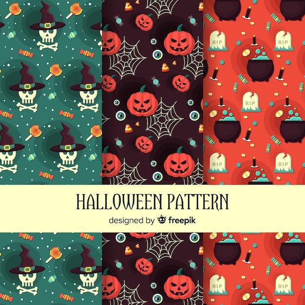 Coleção de padrão de elementos de halloween em design plano Vetor grátis