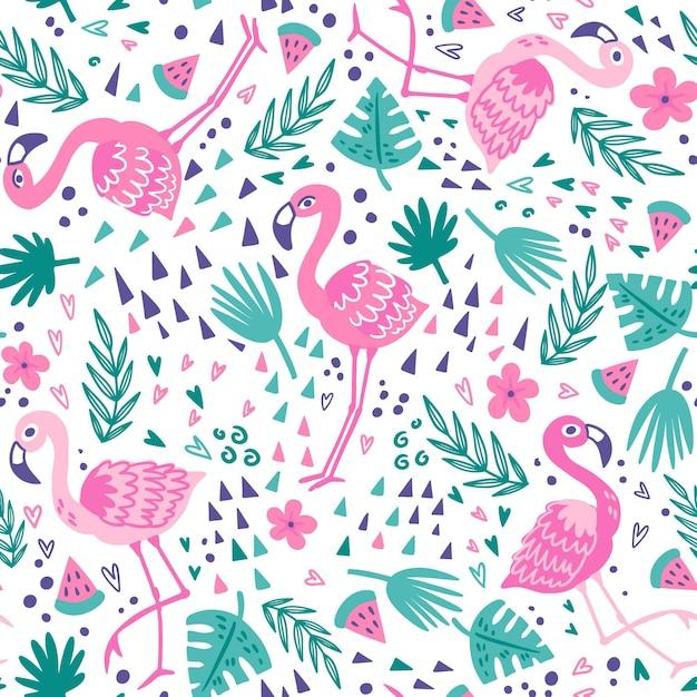 Coleção de padrão de flamingo Vetor grátis