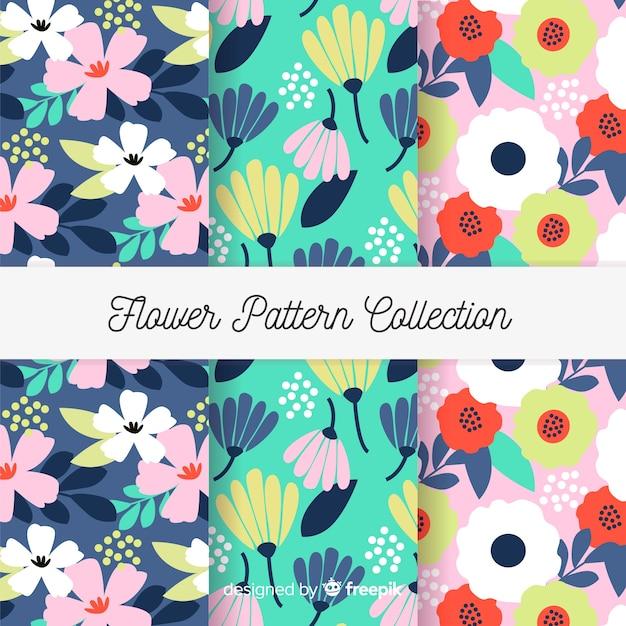 Coleção de padrão de flor plana Vetor grátis