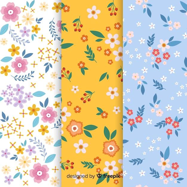 Coleção de padrão de flores planas Vetor grátis