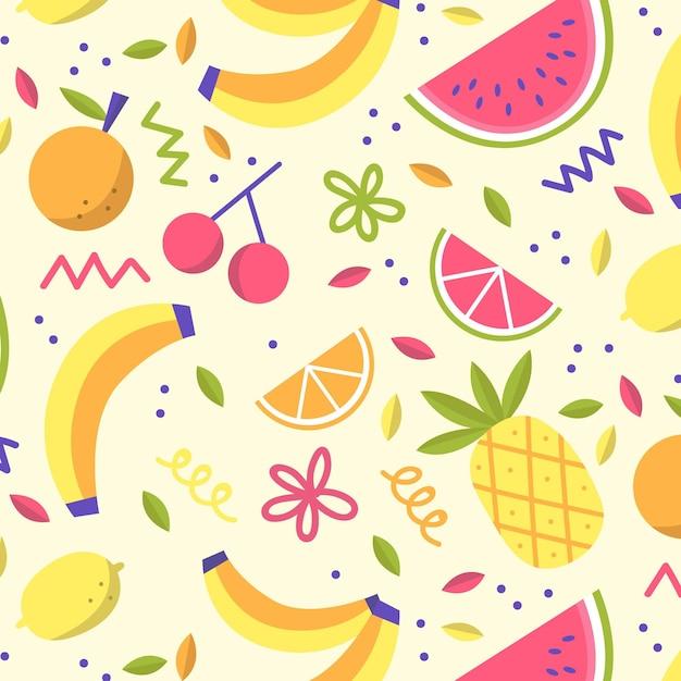 Coleção de padrão de frutas Vetor grátis