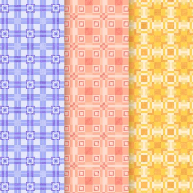 Coleção de padrão de guingão pastel Vetor grátis