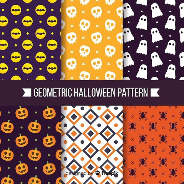 Coleção de padrão de halloween com desenho geométrico Vetor grátis