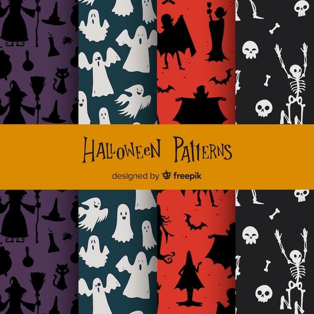 Coleção de padrão de halloween com design plano Vetor grátis