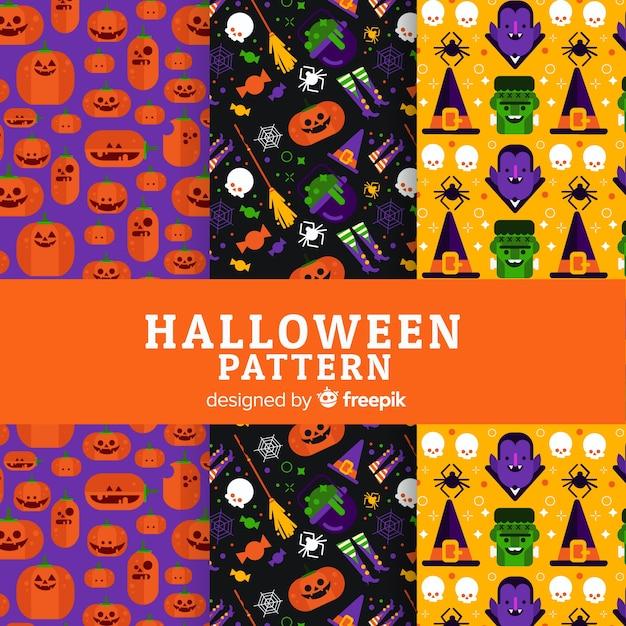 Coleção de padrão de halloween em design plano Vetor grátis