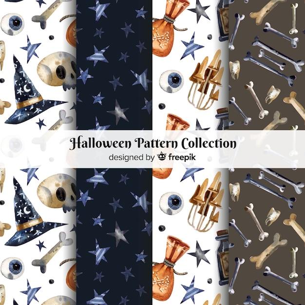 Coleção de padrão de halloween em estilo aquarela Vetor grátis