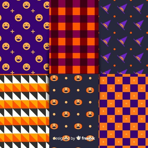 Coleção de padrão de halloween geométrica Vetor grátis