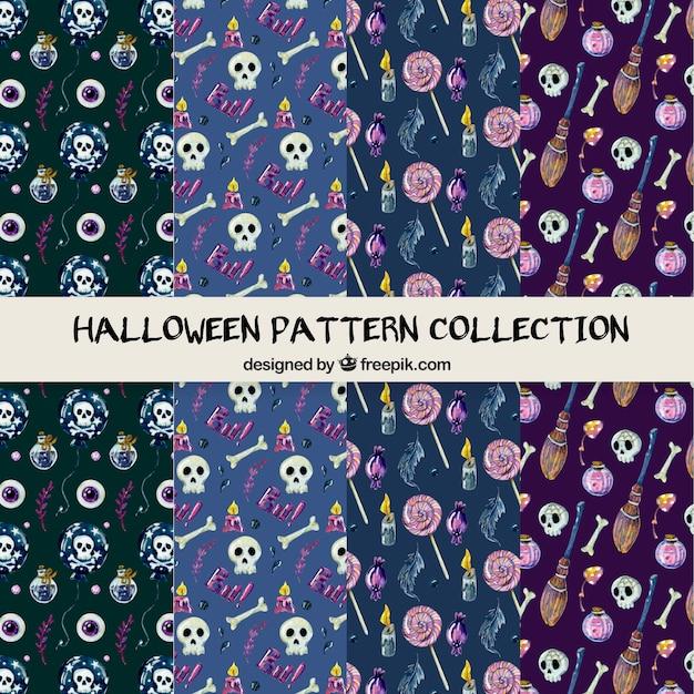 Coleção de padrão de halloween na mão desenhada estilo Vetor grátis