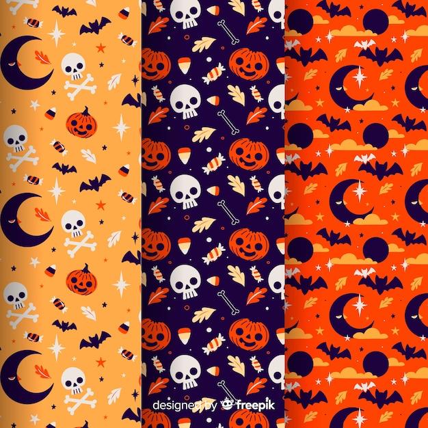 Coleção de padrão de halloween no design plano Vetor grátis