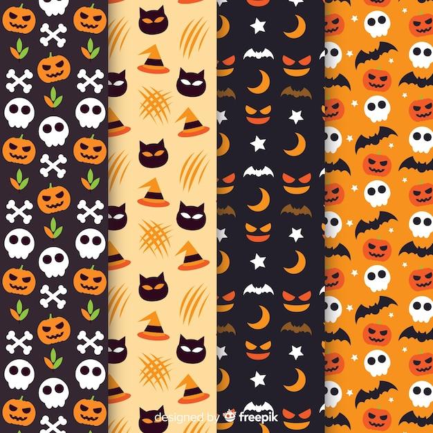 Coleção de padrão de halloween plana Vetor grátis