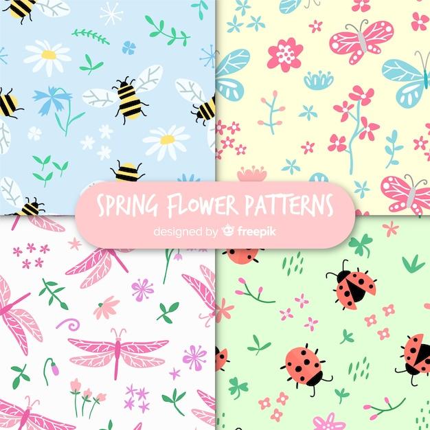 Coleção de padrão de insetos de primavera Vetor grátis