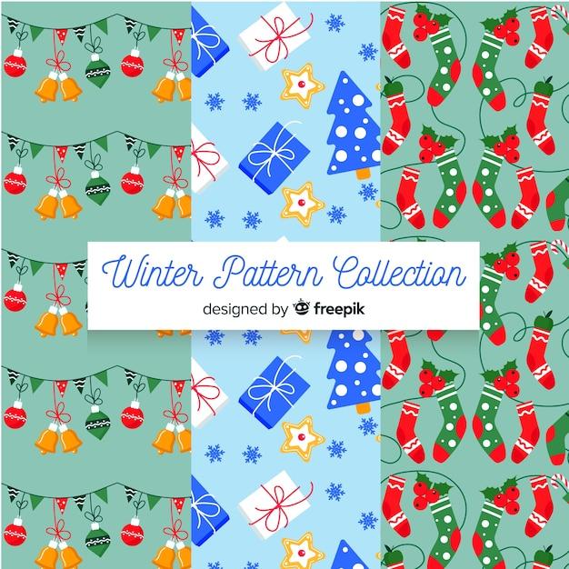 Coleção de padrão de inverno plana Vetor grátis