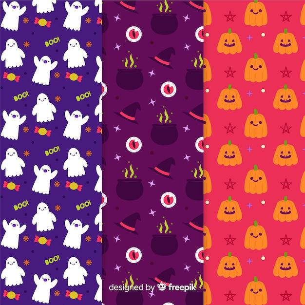 Coleção de padrão de mão desenhada de halloween Vetor grátis