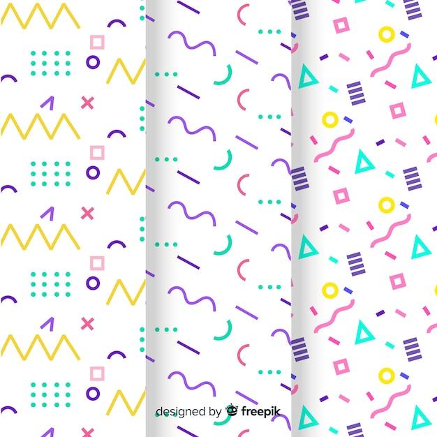 Coleção de padrão de memphis com diferentes formas e cores Vetor grátis