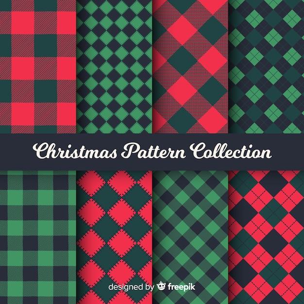 Coleção de padrão de natal colorido com desenho geométrico Vetor grátis