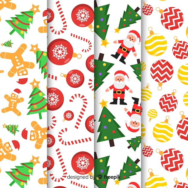 Coleção de padrão de natal com design plano Vetor grátis
