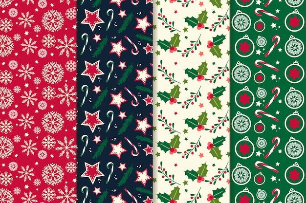 Coleção de padrão de natal de design plano Vetor grátis