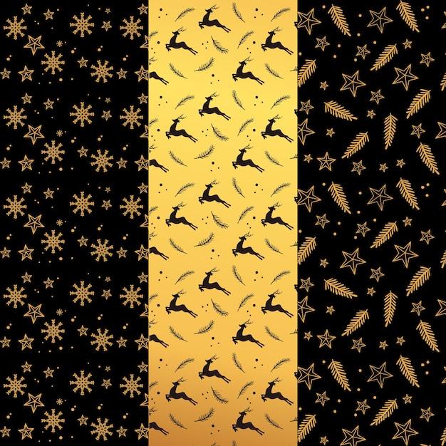 Coleção de padrão de natal dourado Vetor grátis