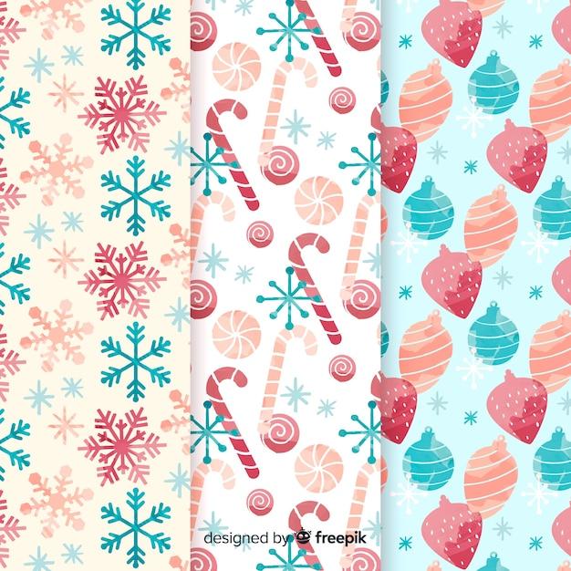 Coleção de padrão de natal em aquarela Vetor grátis