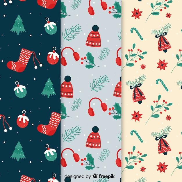 Coleção de padrão de natal em design plano Vetor grátis