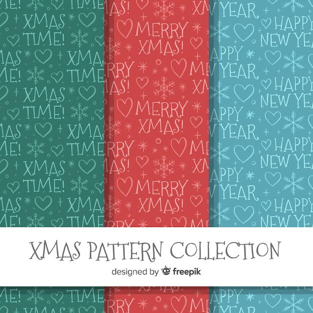 Coleção de padrão de natal na mão desenhada estilo Vetor grátis