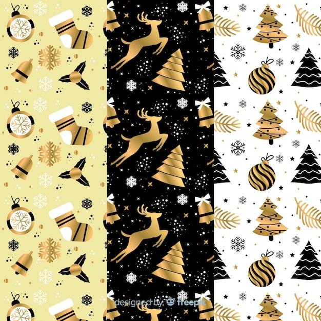 Coleção de padrão de natal preto e dourado Vetor grátis
