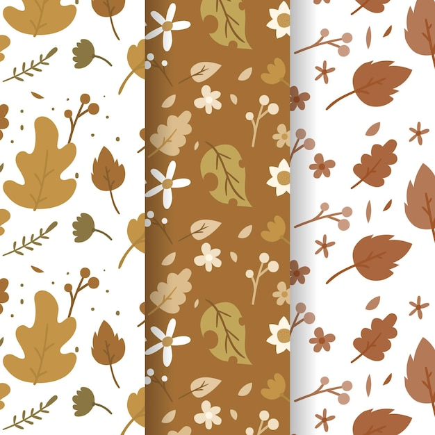 Coleção de padrão de outono desenhada à mão Vetor Premium