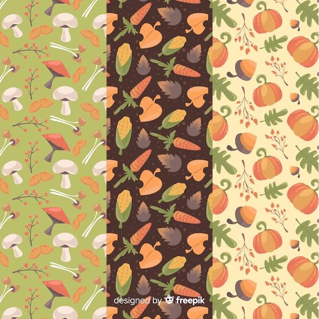 Coleção de padrão de outono design plano Vetor grátis