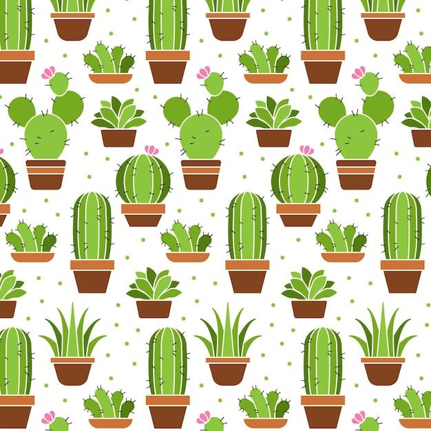 Coleção de padrão de plantas de cacto Vetor Premium