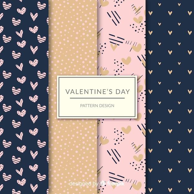 Coleção de padrão de pontos e corações do dia dos namorados Vetor grátis