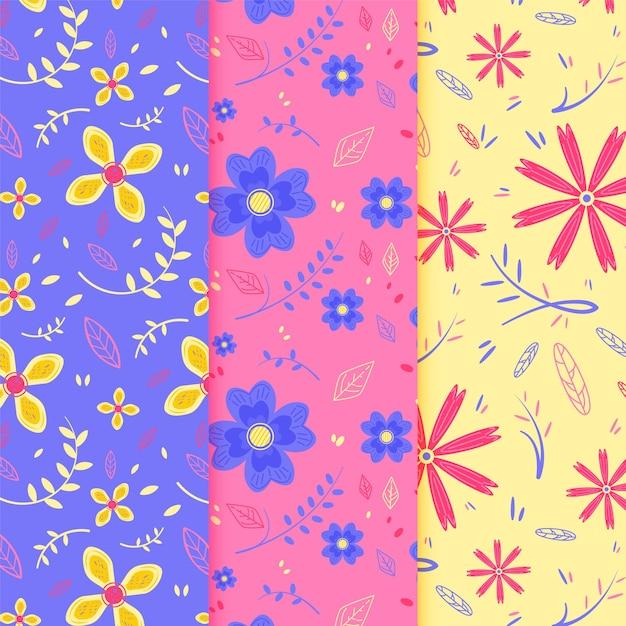 Coleção de padrão de primavera de design plano Vetor grátis