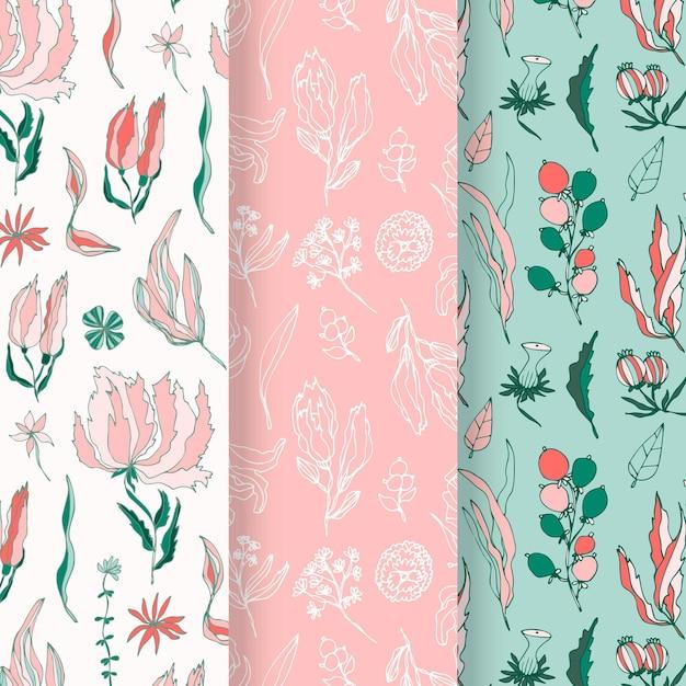 Coleção de padrão de primavera desenhada à mão Vetor grátis