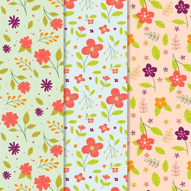 Coleção de padrão de primavera desenhados à mão Vetor grátis
