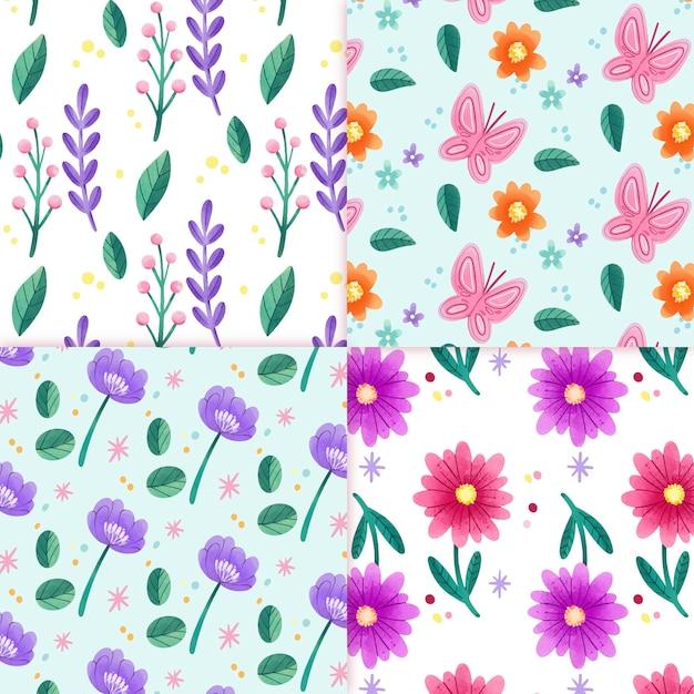 Coleção de padrão de primavera em aquarela flor Vetor grátis