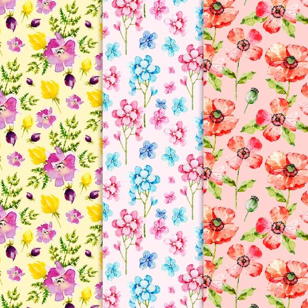 Coleção de padrão de primavera em aquarela Vetor grátis