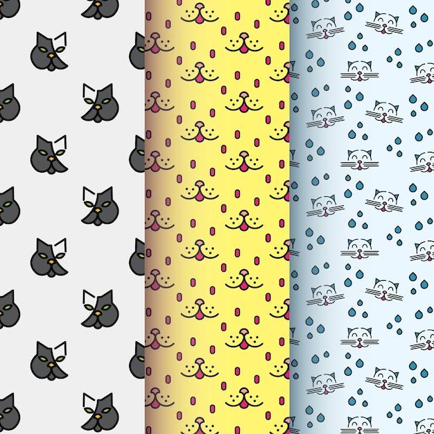 Coleção de padrão de símbolo de gato Vetor Premium