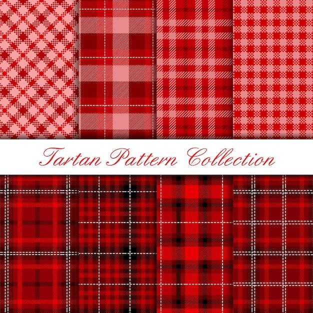 Coleção de padrão de tartan vermelho escuro Vetor Premium