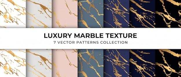 Coleção de padrão de textura de mármore de luxo vetor premium Vetor Premium
