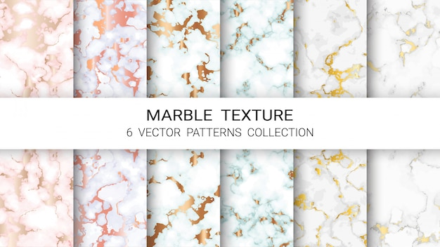 Coleção de padrão de textura de mármore Vetor Premium