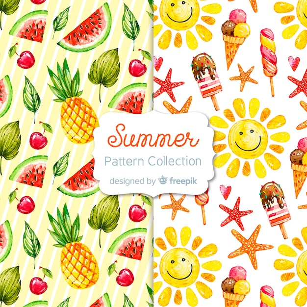 Coleção de padrão de verão aquarela Vetor grátis
