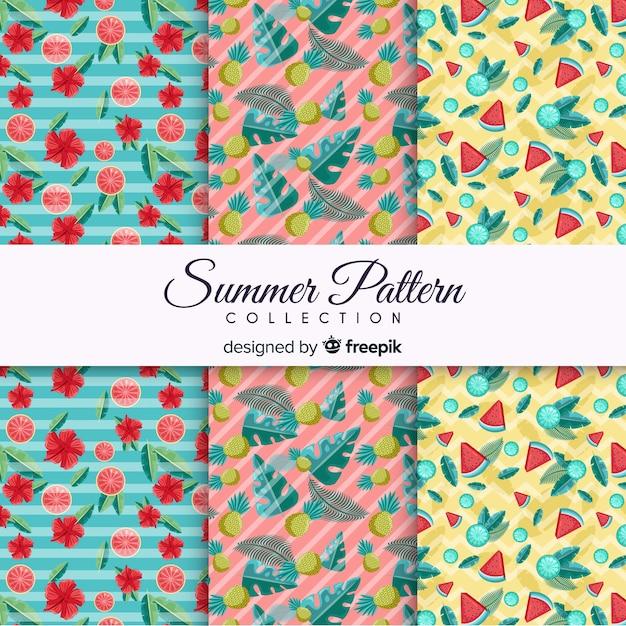 Coleção de padrão de verão plana Vetor grátis