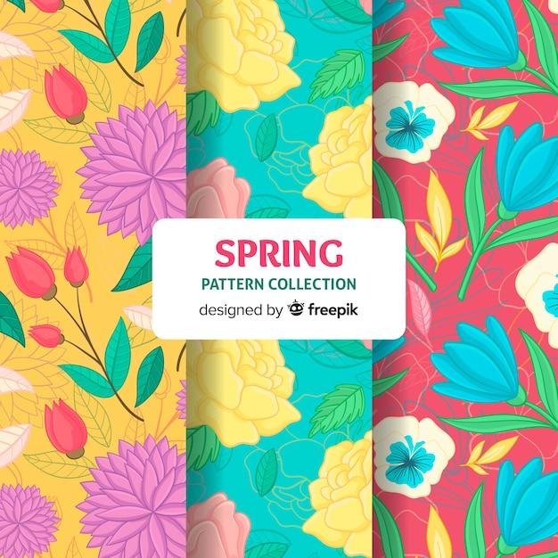 Coleção de padrão floral primavera Vetor grátis