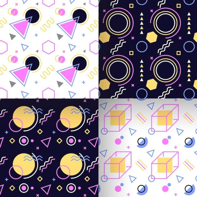 Coleção de padrão geométrico de memphis sem costura Vetor grátis
